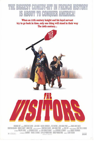 Pictured is a US one-sheet promotional poster for the 1993 Jean-Marie Poire film The Visitors starring Chritian Clavier.