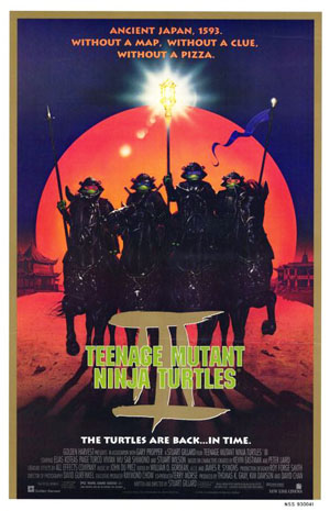 Pictured is a US one-sheet promotional poster for the 1993 Stuart Gillard film Teenage Mutant Ninja Turtles III starring Elias Koteas.