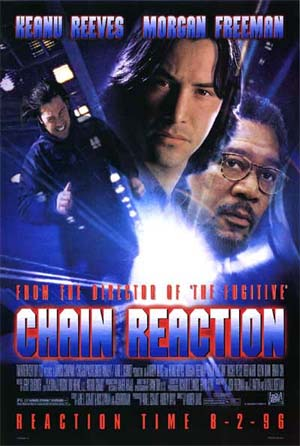 Pictured is a US one-sheet promotional poster for the 1996 Andrew Davis film Chain Reaction starring Keanu Reeves.