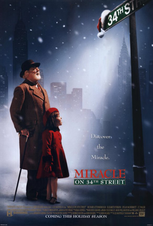 Pictured is a US one-sheet promotional poster for the 1994 Les Mayfield film Miracle on 34th Street starring Richard Attenborough.