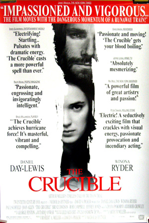 Pictured is a US one-sheet promotional review poster for the 1996 Nicholas Hytner film The Crucible, starring Daniel Day-Lewis and Winona Ryder, based on the play by Arthur Miller.