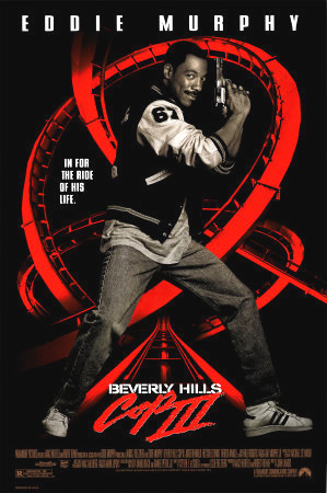 Pictured is a US one-sheet promotional poster for the 1994 Jon Landis film Beverly Hills Cop III starring Eddie Murphy.