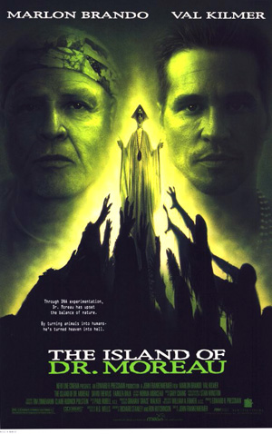 Pictured is a US promotional poster for the 1996 John Frankenheimer film The Island of Dr. Moreau starring Marlon Brando and based on the novel by H.G. Wells.