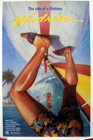 Pictured is a US one-sheet promotional poster for the 1986 Vincent Monton film Windrider starring Tom Burlinson.