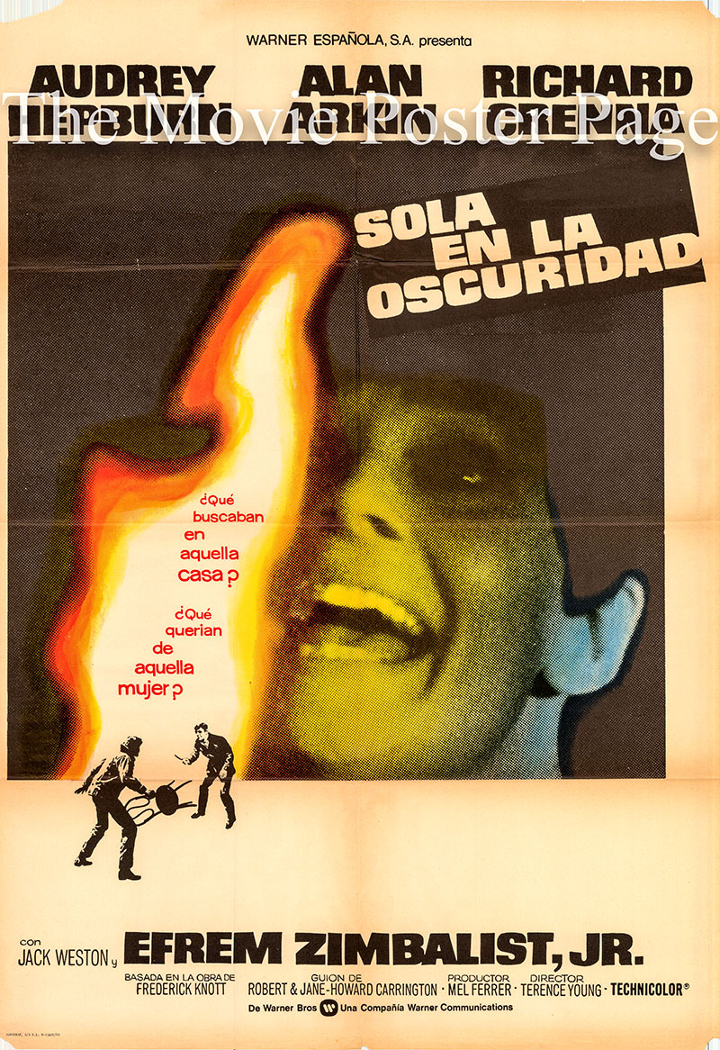 Pictured is a Spanish one-sheet poster for the 1967 Terence Young film Wait until Dark starring Audrey Hepburn as Susy Hendrix.