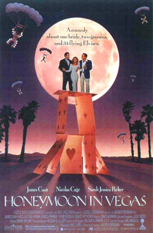 Pictured is an US one-sheet promotional poster for the 1992 Andrew Bergman film Honeymoon in Vegas starring Nicolas Cage and James Caan.
