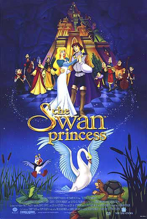 Pictured is an US one-sheet promotional poster for the 1994 Richard Rich film The Swan Princess starring Jack Palance as the voice of Lord Rothbart.