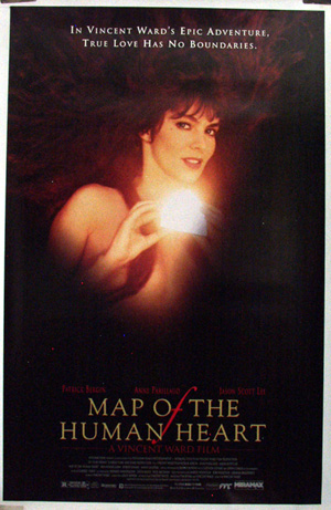 Pictured is an US promotional poster for the 1993 Vincent Ward film Map of the Human Heart starring Jason Scott Lee.