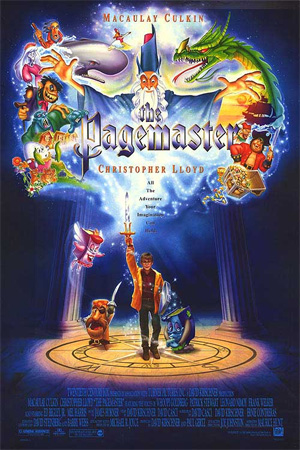 Pictured is an US one-sheet promotional poster for the 1994 Pixote Hunt and Joe Johnston film The Pagemaster starring Macaulay Culkin and Christopher Lloyd.