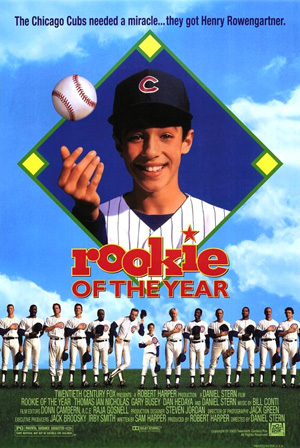 Pictured is an US one-sheet promotional poster for the 1993 Daniel Stern film Rookie of the Year starring Thomas Ian Nicholas.