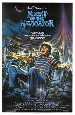 Pictured is an US promotional poster for the 1986 Randal Kleiser film Flight of the Navigator starring Joey Cramer.