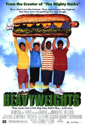 Pictured is an US promotional poster for the 1995 Steven Brill film Heavy Weights starring David Goldman.