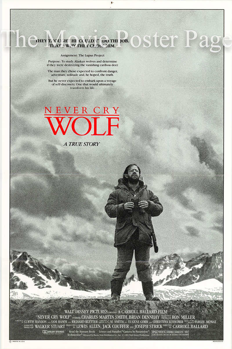 Pictured is an US promotional poster for the 1983 Carroll Ballard film Never Cry Wolf starring Charles Martin as Farley Mowat.