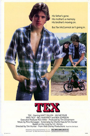 Pictured is an US promotional poster for the 1982 Tim Hunter film Tex starring Matt Dillon.