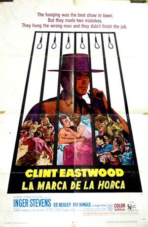 Pictured is an US promotional poster with hand-painted Spanish title for the 1968 Ted Post film Hang em High starring Clint Eastwood as Marshal Jed Cooper.