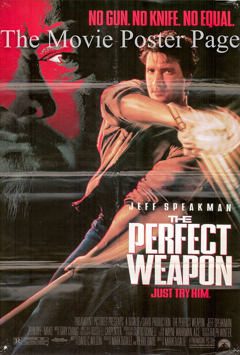 Pictured is a US promotional poster for the 1991 Mark DiSalle film The Perfect Weapon starring Jeff Speakman.