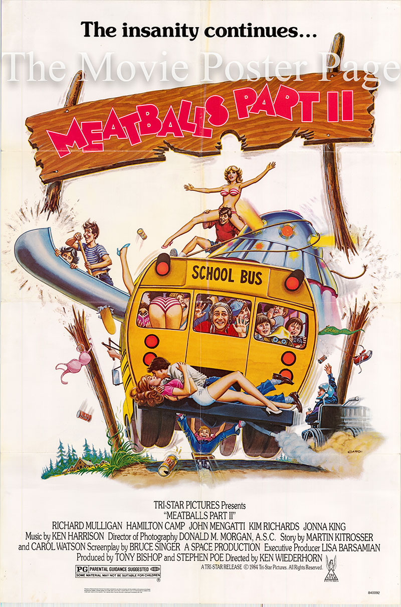 Pictured is a US promotional poster for the 1984 Ken Wiederhorn film Meatballs Part II starring Richard Mulligan.