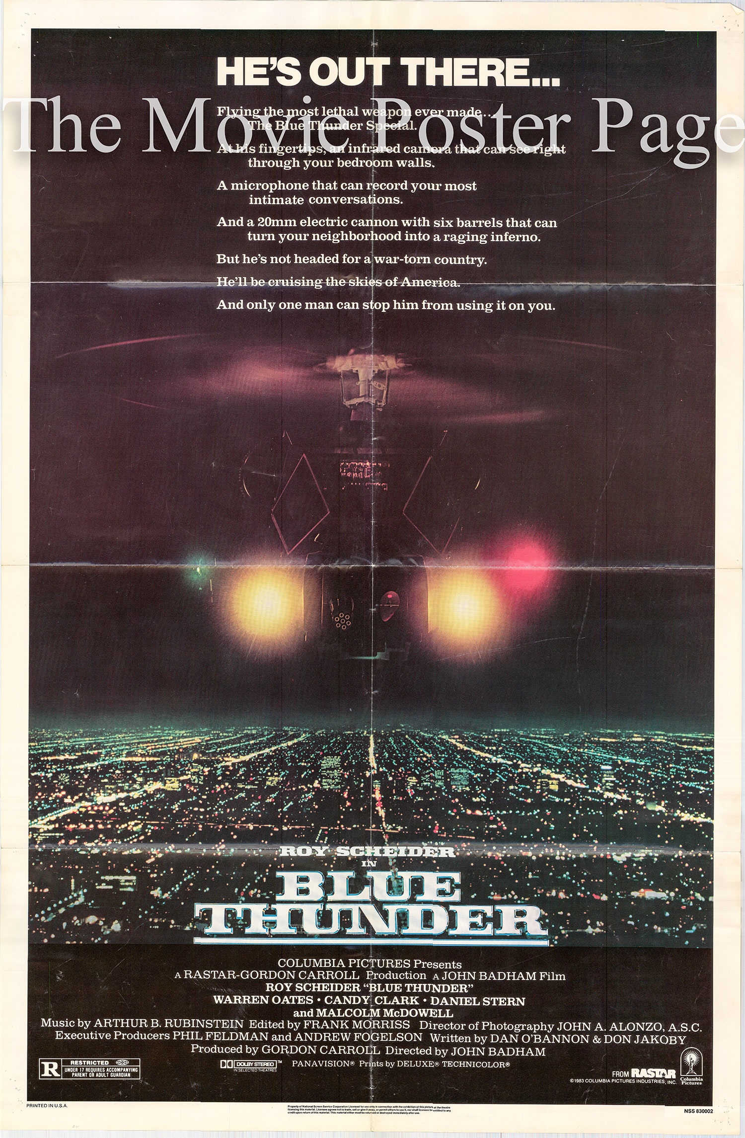 Pictured is a US promotional poster for the 1983 John Badham film Blue Thunder starring Roy Scheider.