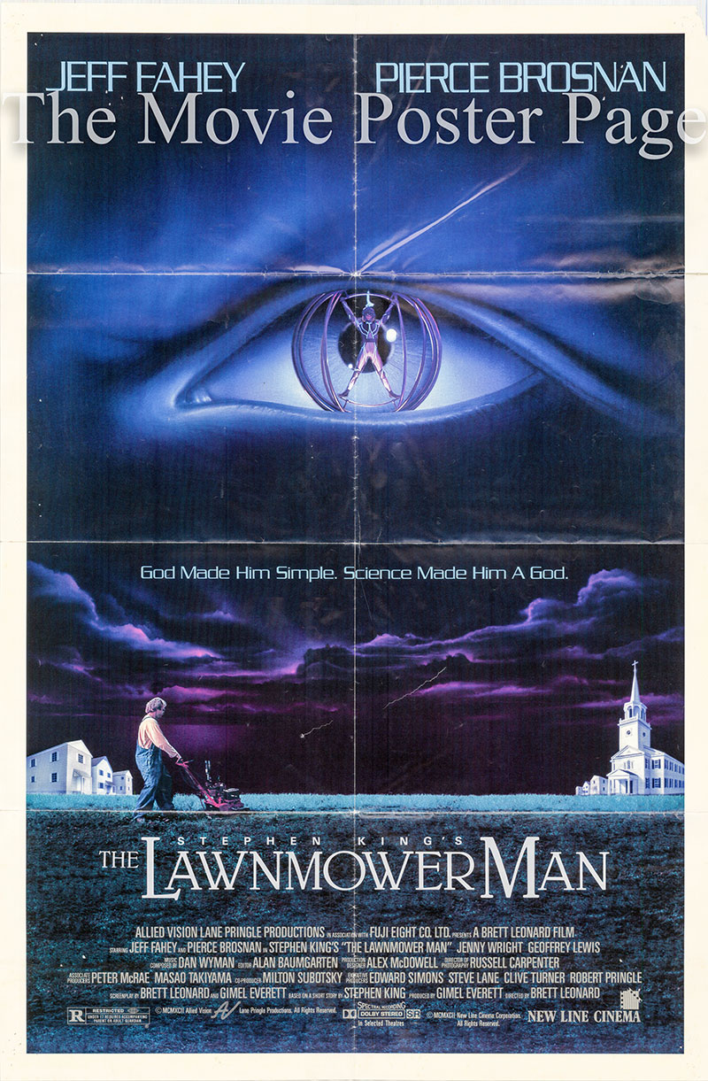 Pictured is a US promotional one-sheet  poster for the 1992 Brett Leonard film The Lawnmower Man, starring Pierce Brosnan.