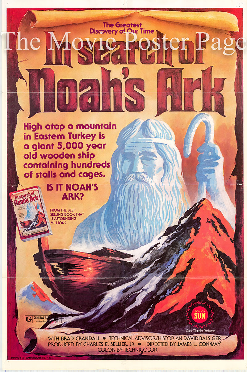 Pictured is a US promotional poster for the 1976 James L. Conway film In Search of Noah's Ark starring Vern Adix as Noah.