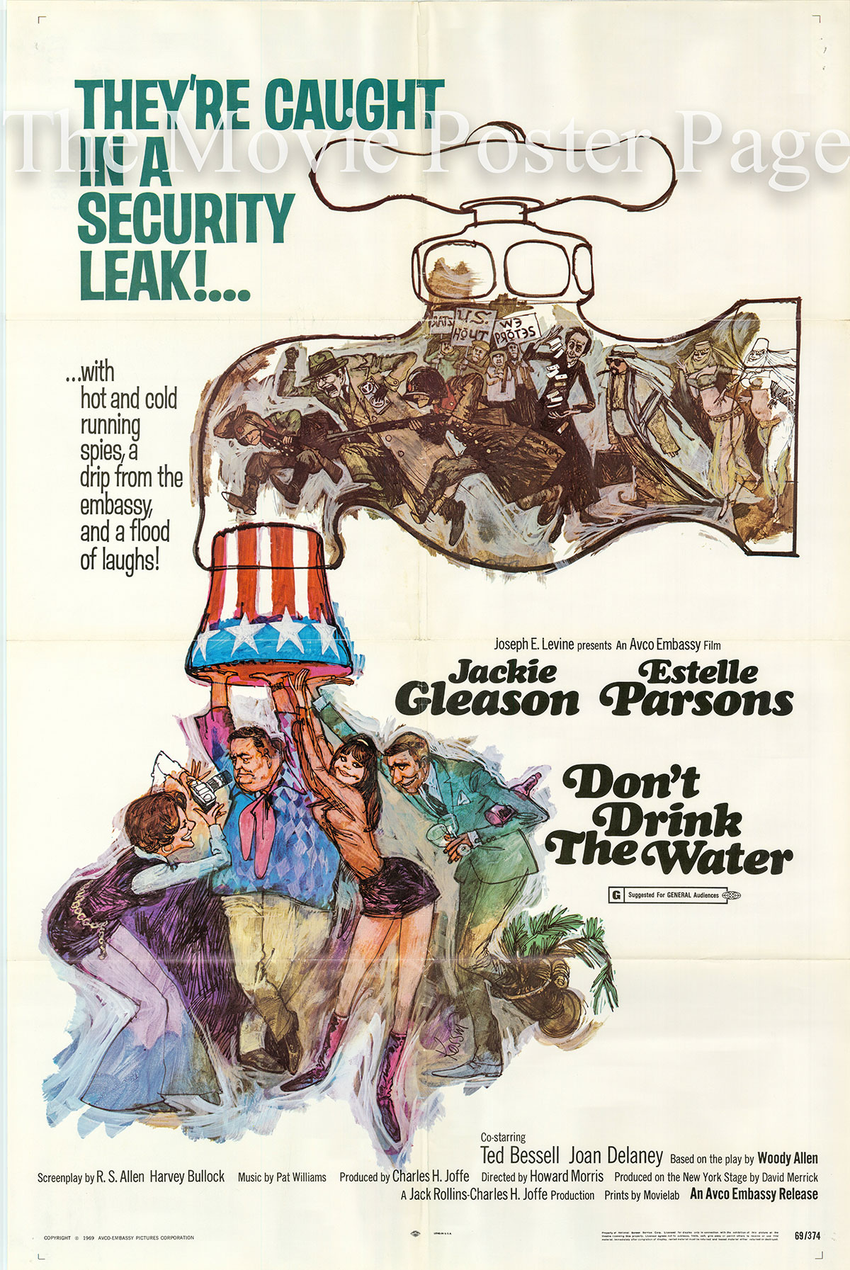 Pictured is a US promotional poster for the 1969 Howard Morris film Don't Drink the Water starring Jackie Gleason based on a play by Woody Allen.
