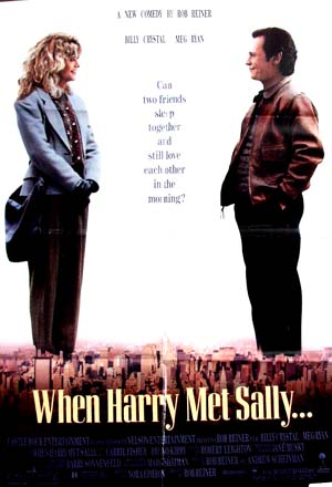 Pictured is a US promotional poster for the 1989 Rob Reiner film When Harry Met Sally starring Billy Crystal and Meg Ryan.