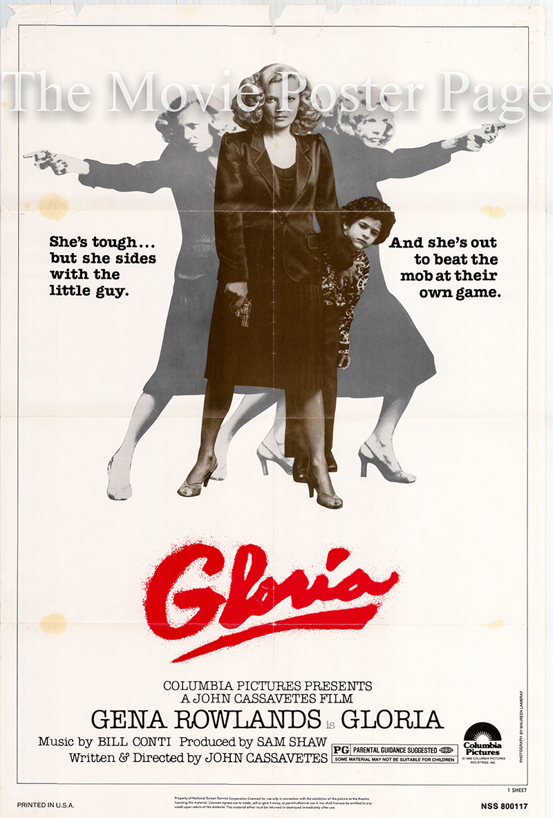 Pictured is a US promotional poster for the 1980 John Cassavetes film Gloria starring Gena Rowlands.