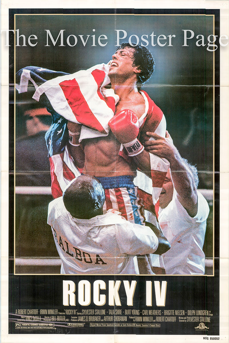 Pictured is a US promotional one-sheet poster for the 1986 Sylvester Stallone film Rocky IV starring Sylvester Stallone.