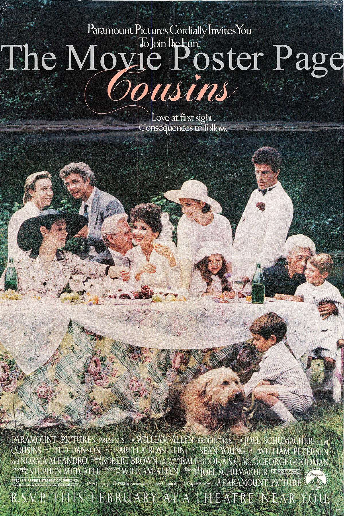 Pictured is a US one-sheet promotional poster for the 1988 Joel Schumacher film Cousins starring Ted Danson.