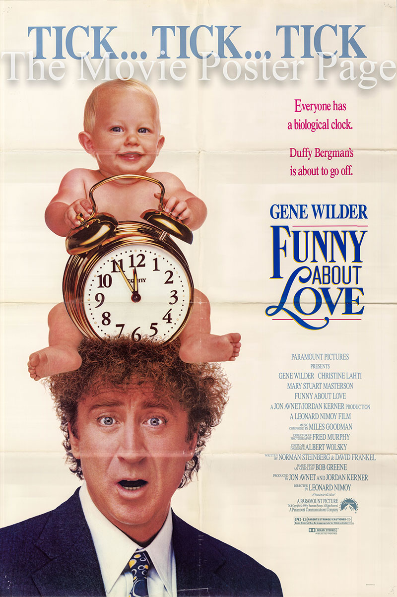 Pictured is a US one-sheet promotional poster for the 1990 Leonard Nimoy film Funny about Love starring Gene Wilder.