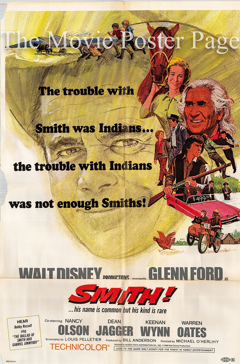 Pictured is a US one-sheet promotional poster for the 1969 Michael O'Herlihy film Smith! starring Glenn Ford.