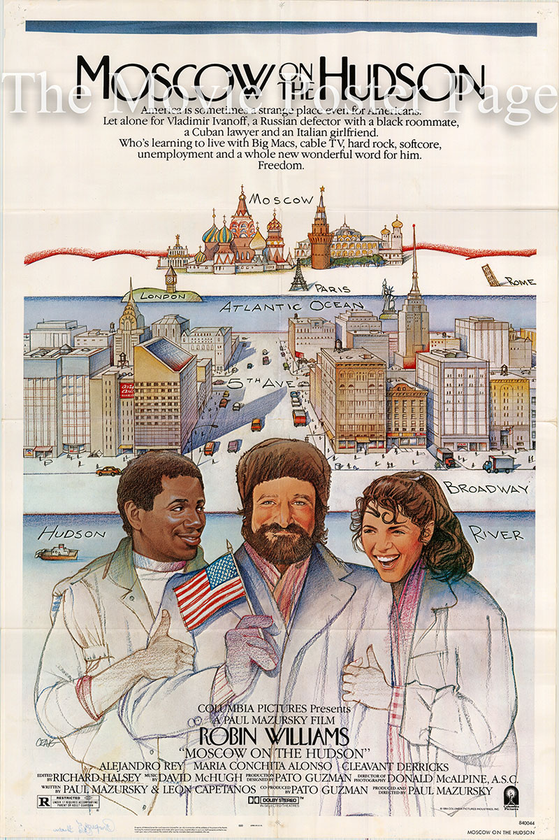 Pictured is a US one-sheet promotional poster for the 1984 Paul Mazursky film Moscow on the Hudson starring Robin Williams.