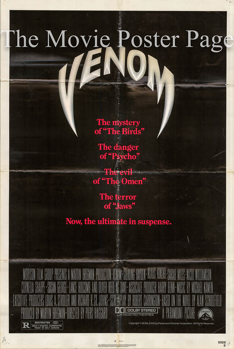 Pictured is an US promotional poster for the 1982 Piers Haggard film Venom starring Klaus Kinski.