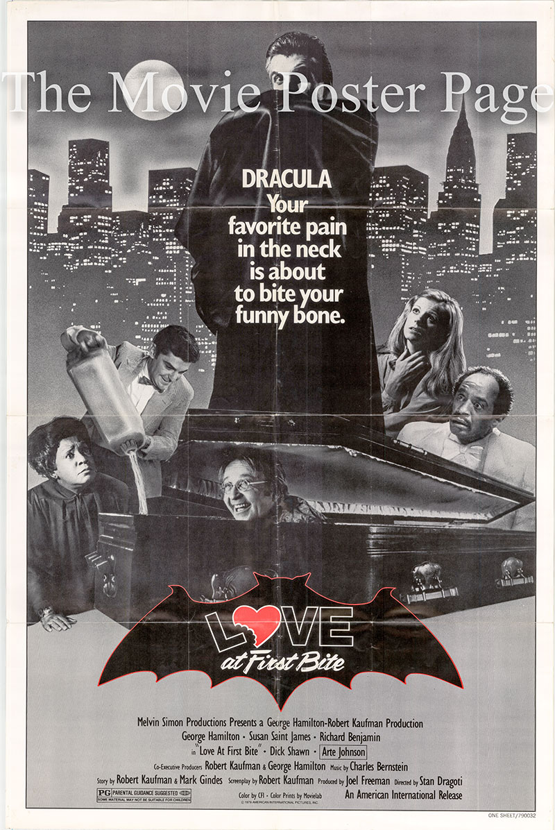 Pictured is an US promotional poster for the 1979 Stan Dragoti film Love at First Bite starring George Hamilton as Count Vladimir Dracula.