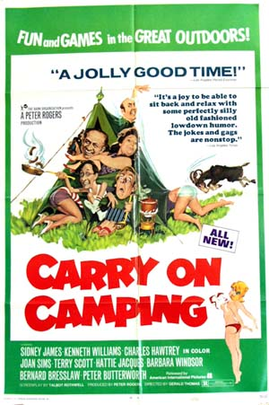 Pictured is an US promotional poster for the 1971 Gerald Thomas film Carry on Camping starring Sid James.