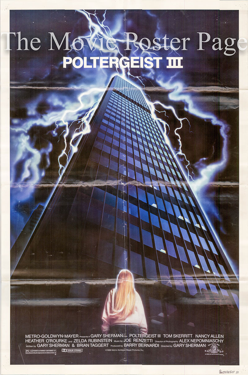 Pictured is a US promotional poster for the 1988 Gary Sherman film Poltergeist III starring Tom Skeriitt.