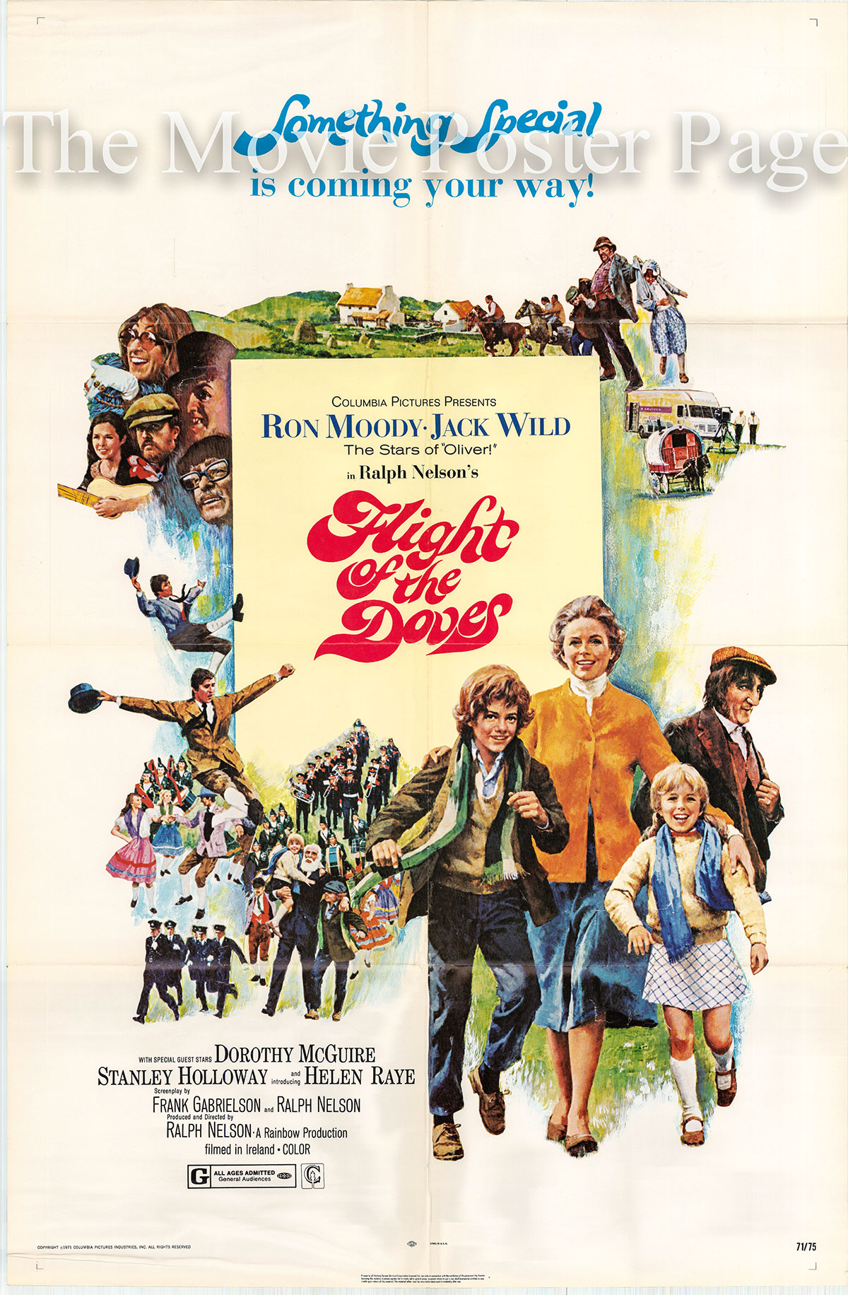 Pictured is an US promotional poster for the 1971 Ralph Nelson film Flight of the Doves, starring Ron Moody.