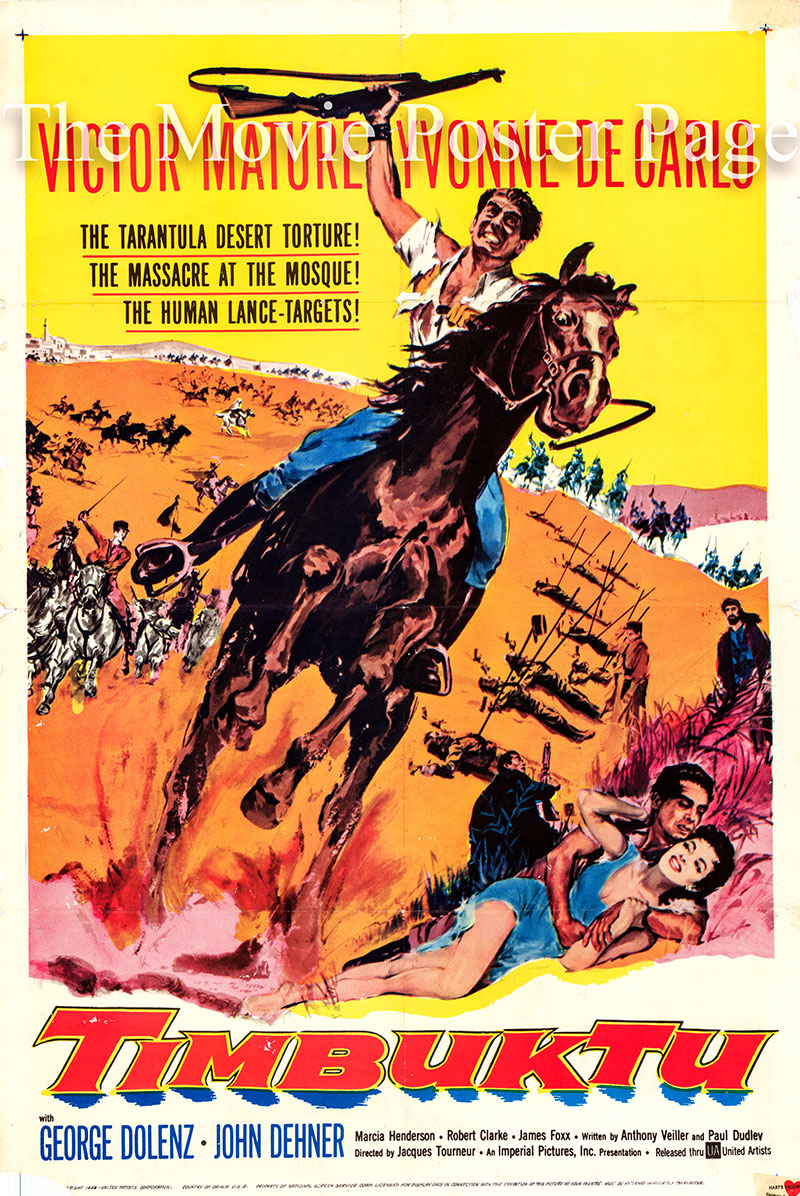 Pictured is an US promotional poster for the 1958 Jacques Tourneur film Timbuktu starring Victor Mature.