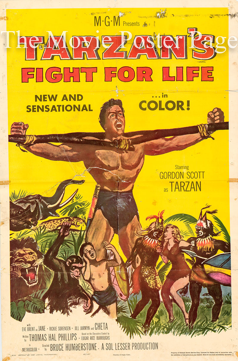 Pictured is an US promotional poster for the 1958 H. Bruce Humberstone film Tarzan's Fight for Life starring Gordon Scott as Tarzan.