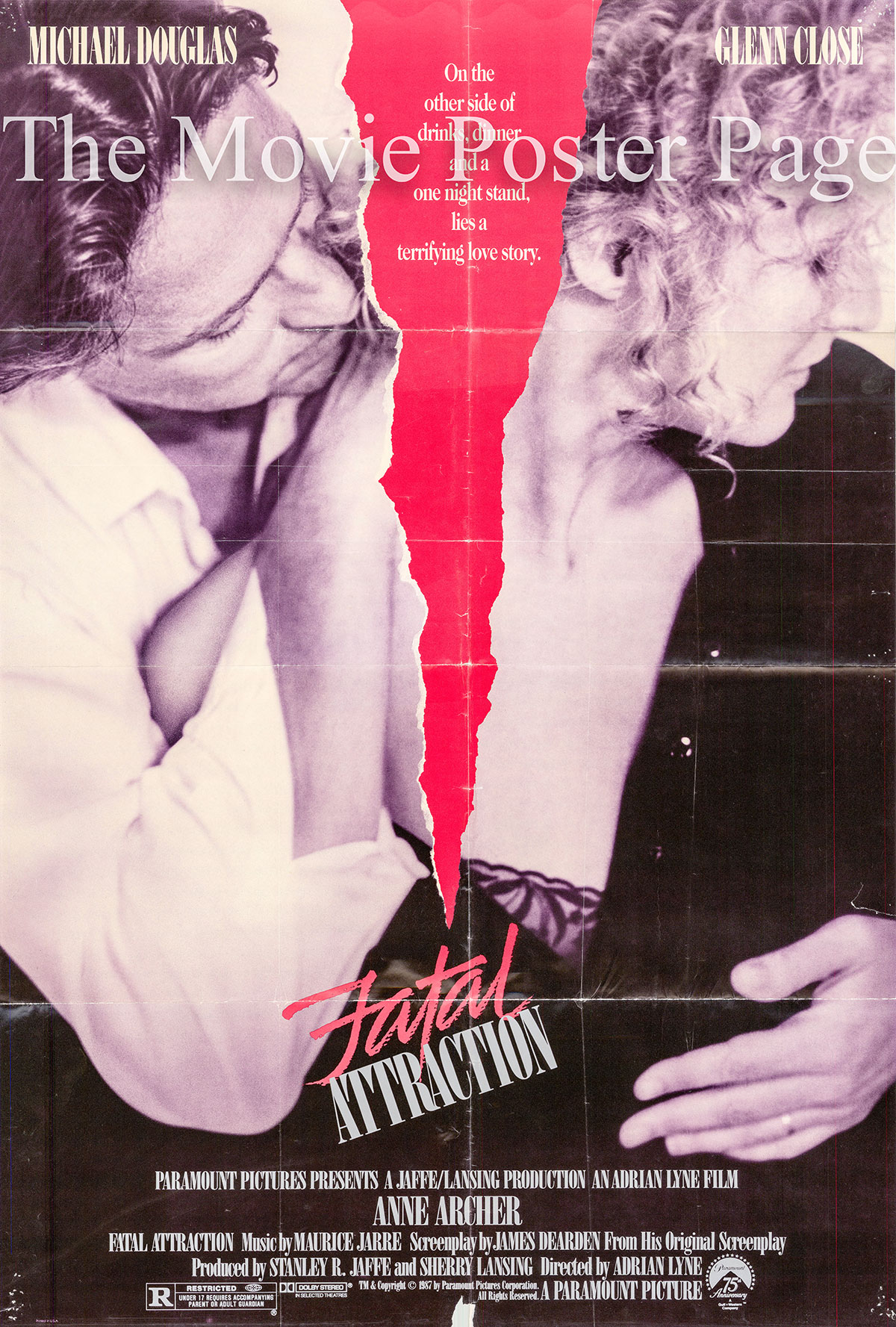 Pictured is a folded US promotional poster for the 1987 Adrian Lyne film Fatal Attraction starring Michael Douglas and Glenn Close.