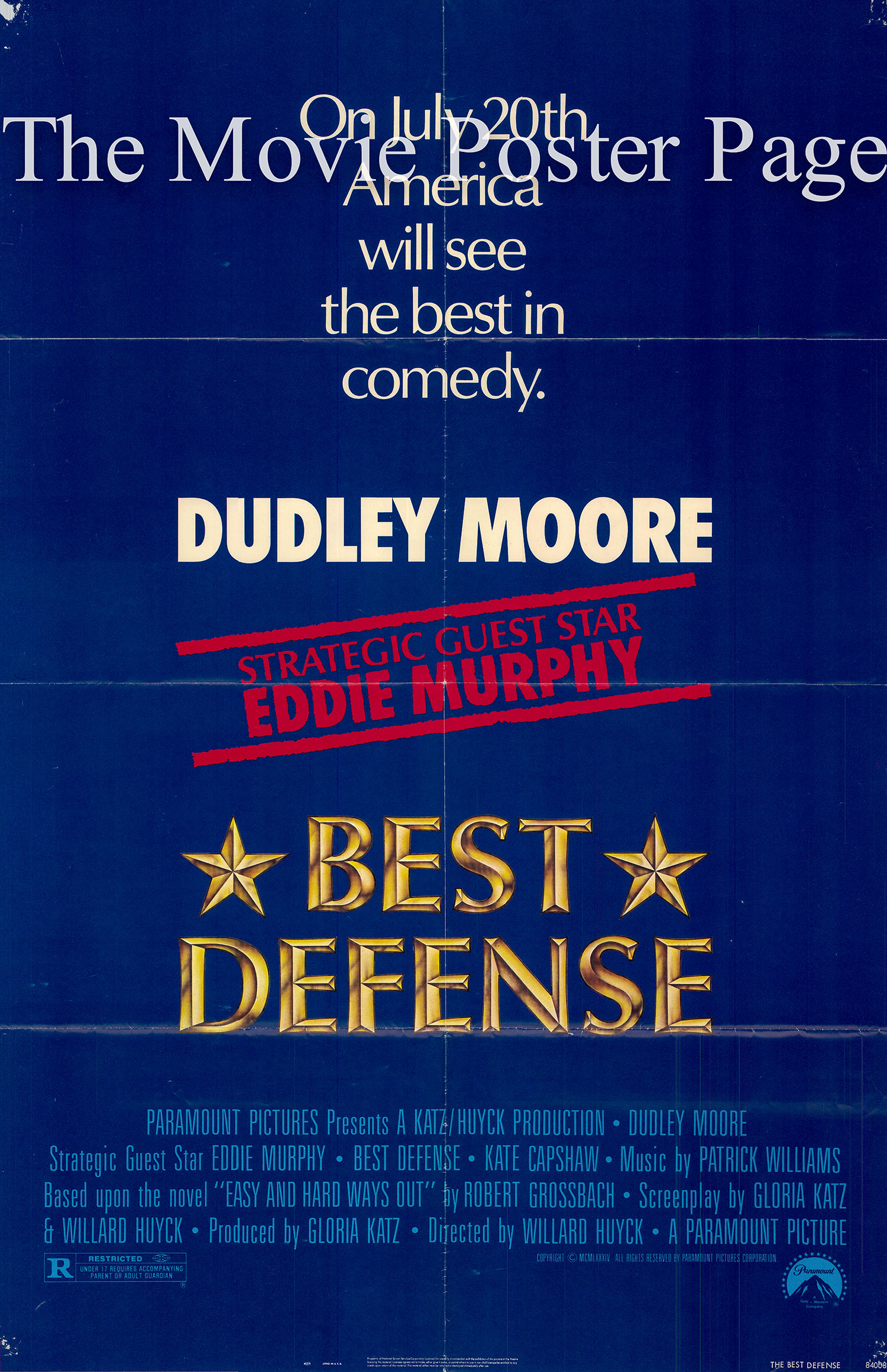 Pictured is an US promotional poster for the 1984 Willard Huyck film Best Defense starring Dudley Moore and Eddie Murphy.