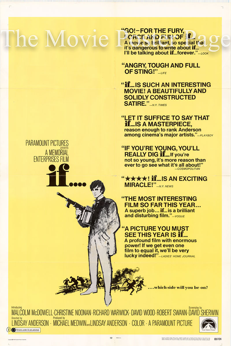 Pictured is an US promotional poster for the 1969 Lindsay Anderson film If... starring Malcolm McDowell.