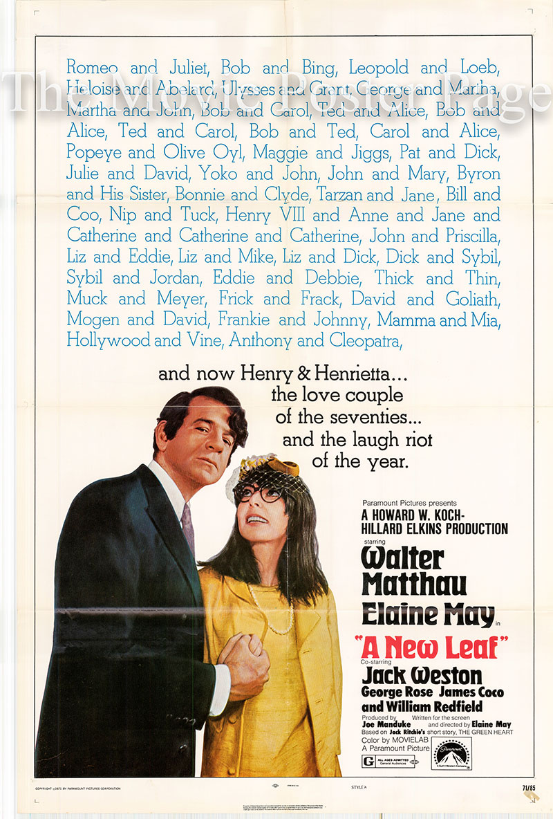 Pictured is an US promotional one-sheet poster for the 1971 Elaine May film A New Leaf starring Walter Matthau and Elaine May.