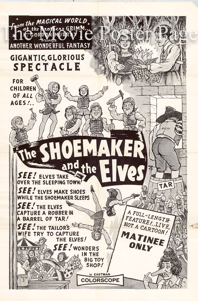 Pictured is a US promotional poster for the K. Gordon Murray release of the 1956 film the Shoemaker and the Elves starring Nora Minor based on a poem by August Kopisch.