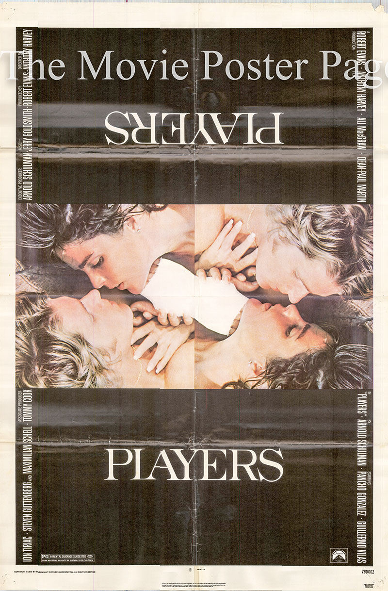 Pictured is a US promotional poster for the 1979 Anthony Harvey film Players starring Ali McGraw.