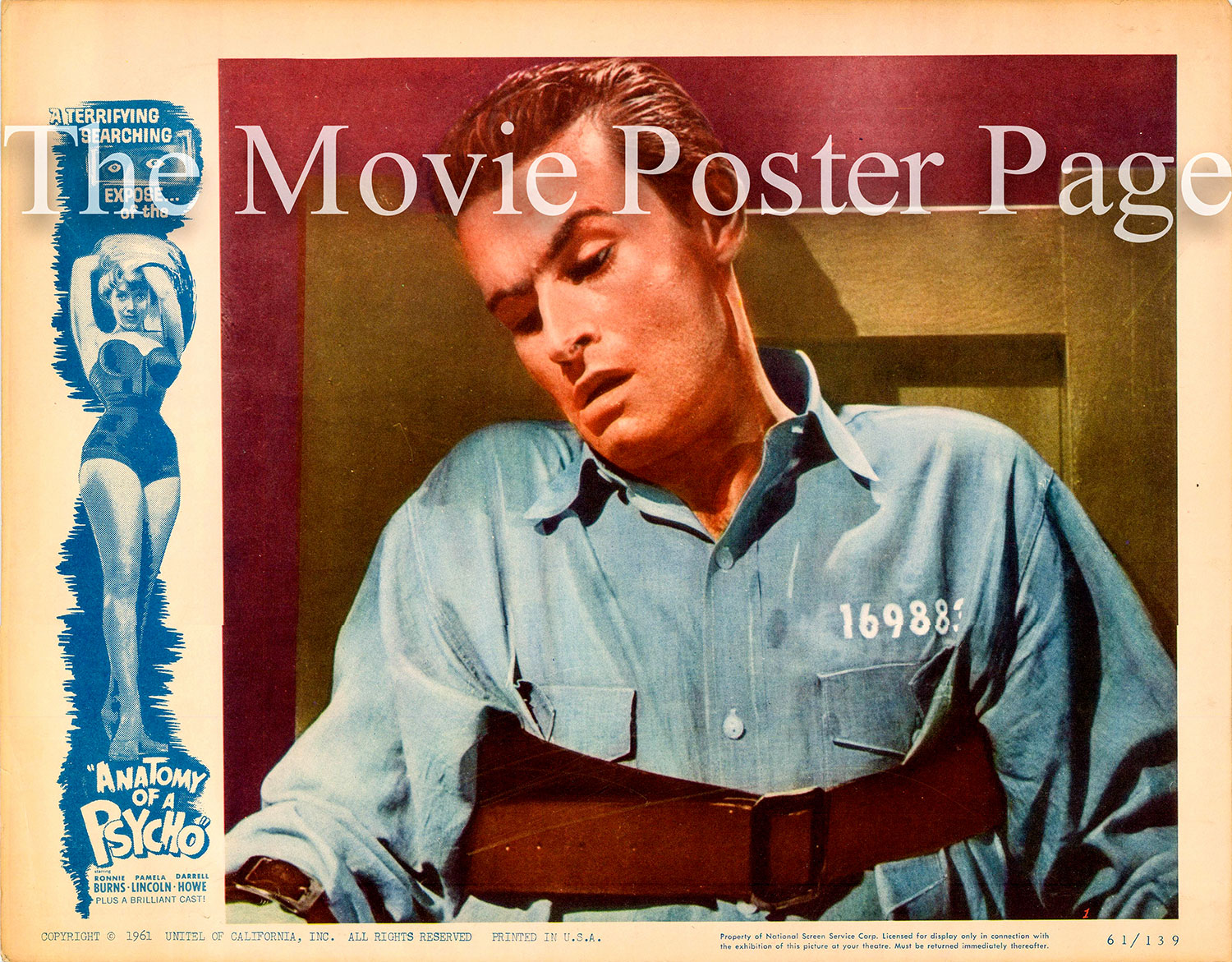 Pictured is a US lobby card for the 1961 Boris Petroff film Anatomy of a Psycho starring Ronnie Burns.
