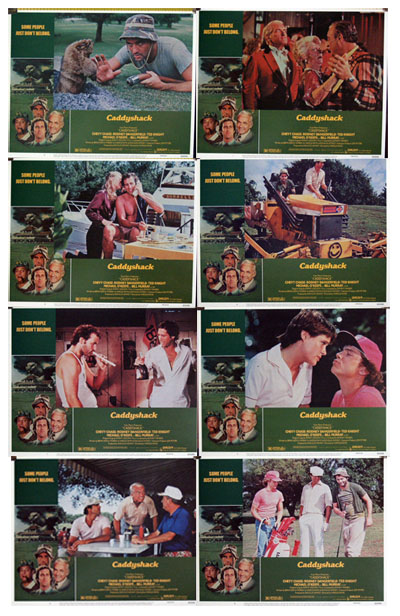 Pictured is a US lobby card set for the 1980 Harold Ramis film Caddyshack starring Chevy Chase.