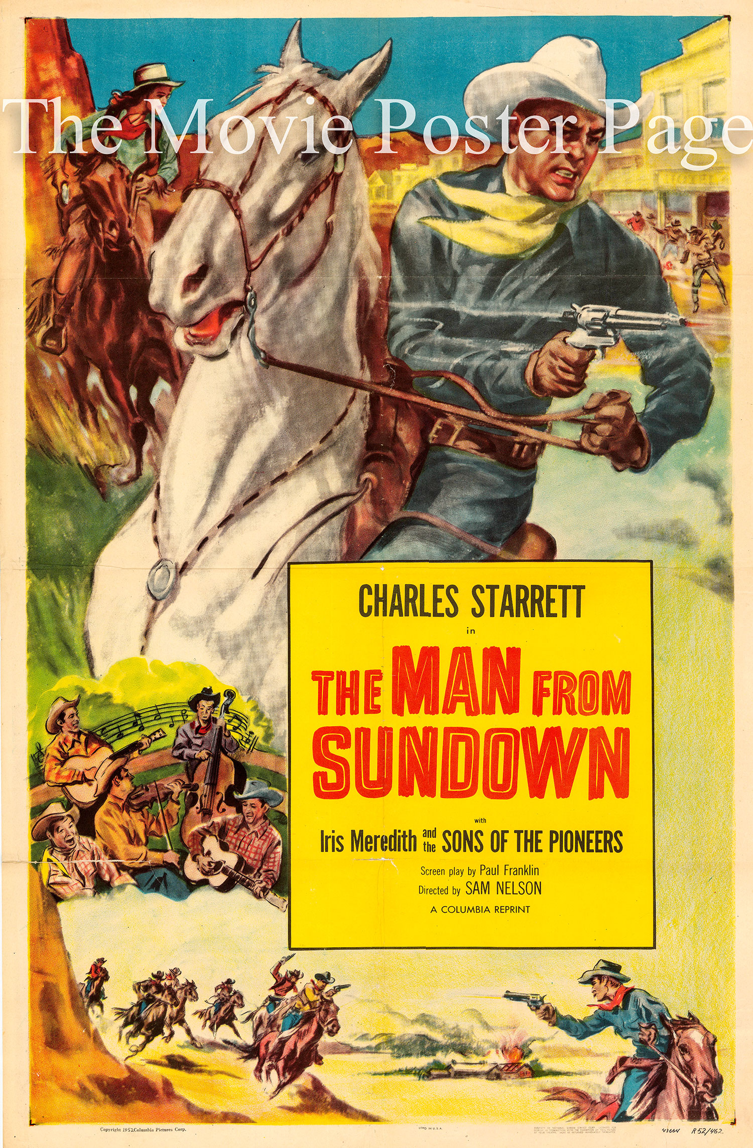 Pictured is a US one-sheet promotional poster for a 1952 rerelease of the 1939 Sam Nelson film The Man from Sundown starring Charles Starrett.