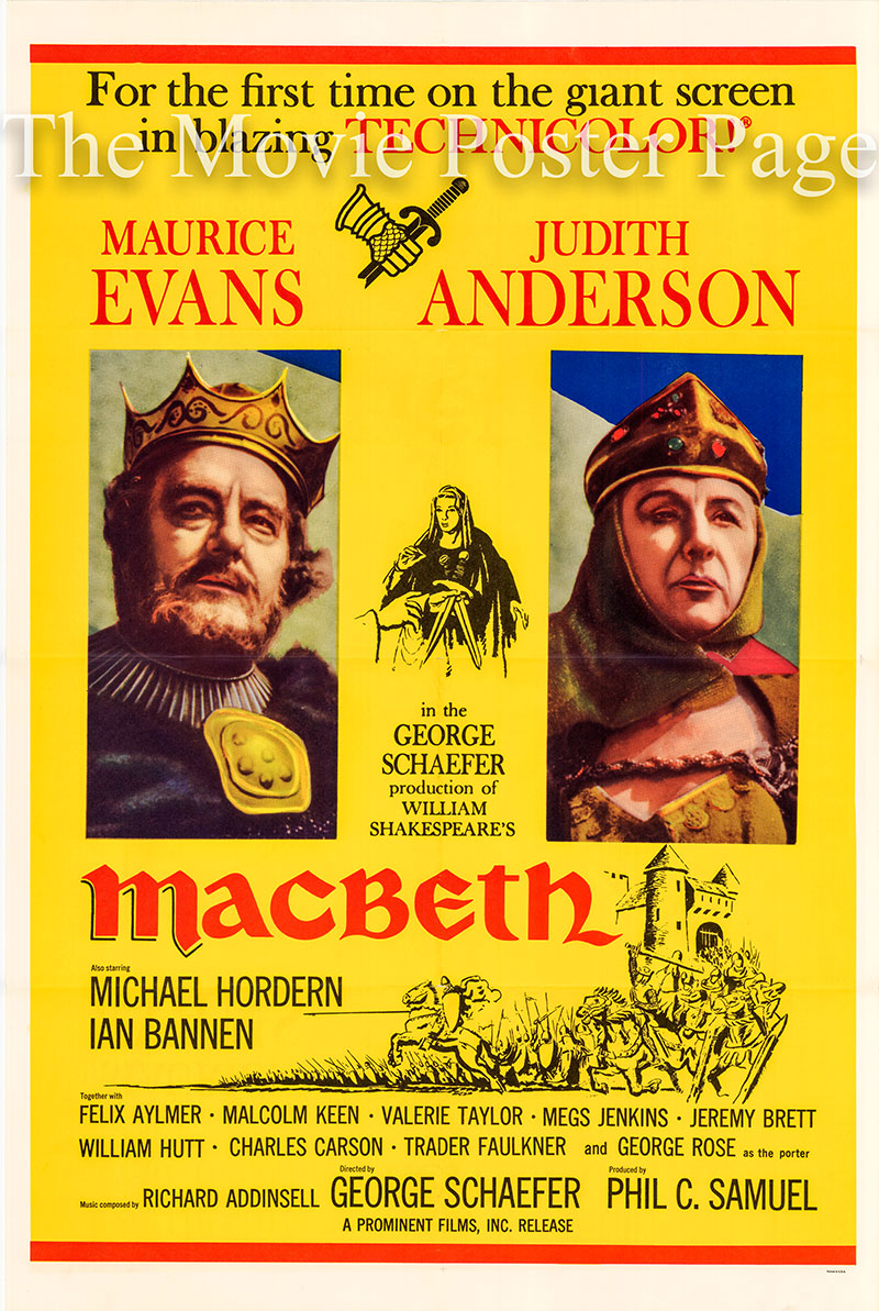 Pictured is a US one-sheet promotional poster for the 1960 George Schaefer film Macbeth starring Maurice Evans based on the play by William Shakespeare.