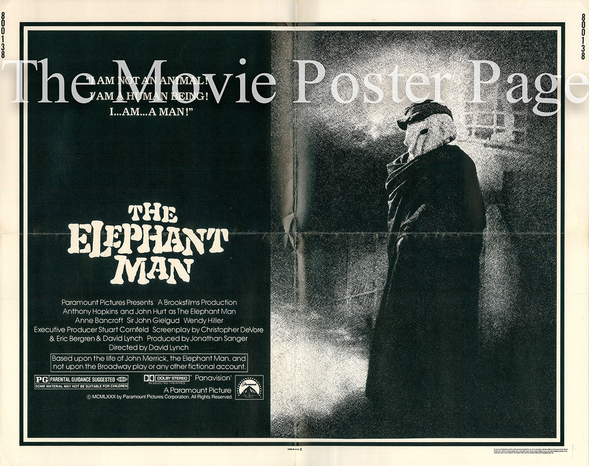 Pictured is a US half-sheet promotional poster for the 1981 David  Lynch film The Elephant Man starring Anthony Hopkins.
